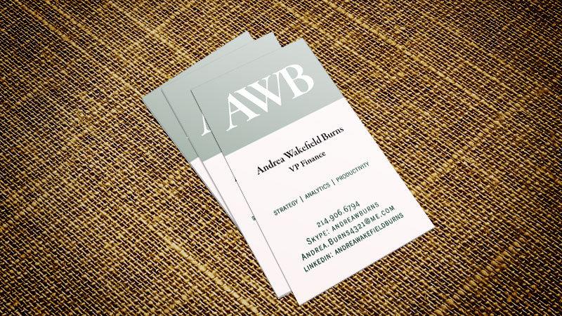 business card for Andrea Wakefield Burns